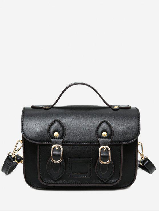 Faux cuero doble hebilla correas Crossbody bolsa - Negro