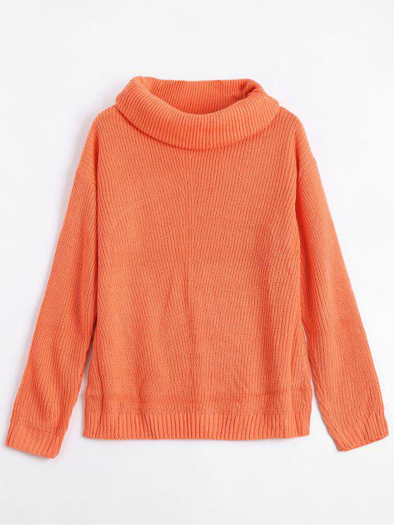 2019 Cowl Neck Pullover Tunic Sweater In Orange One Size Zaful