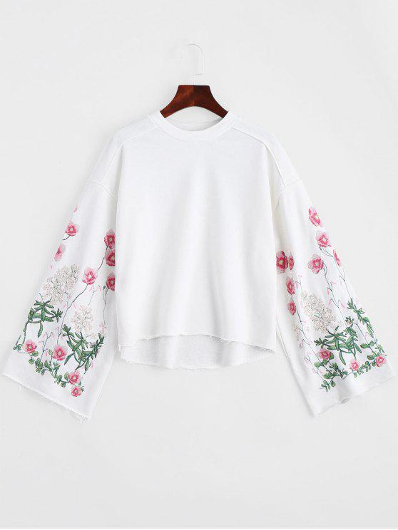 fancy Crew Neck Flower Embroidery Sweatshirt - WHITE S