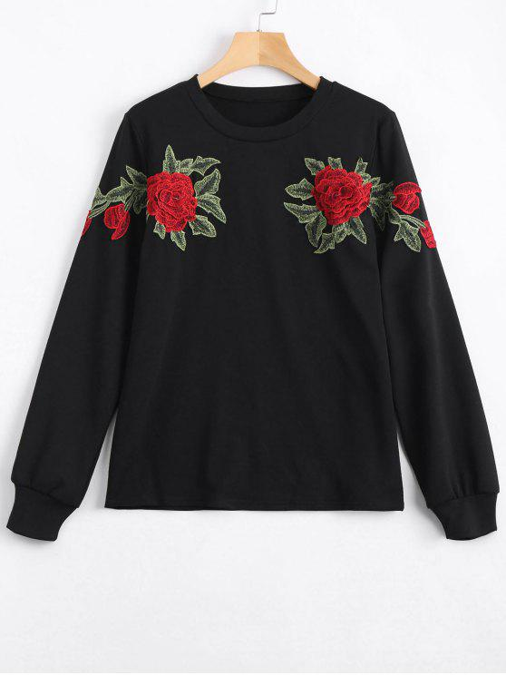 shop Floral Patched Sweatshirt - BLACK XL