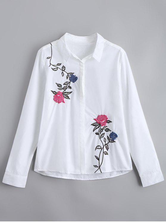 [26% OFF] 2020 Button Down Loose Floral Embroidered Shirt