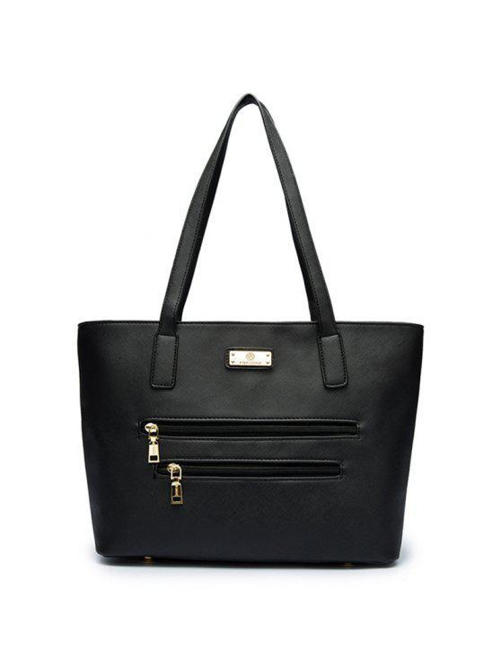 المعادن بو الجلود حقيبة الكتف - أسود