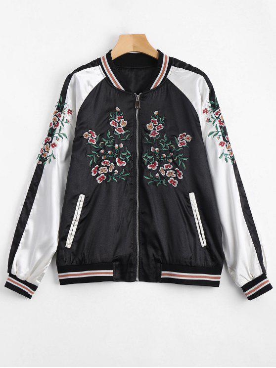 sale Embroidered Souvenir Jacket - BLACK L