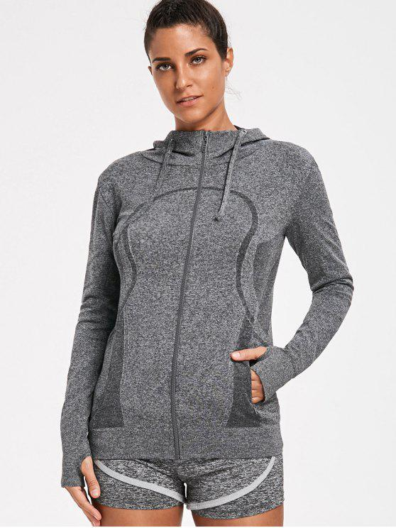 Sporty Perspire Heathered Zip Up Hoodie - Cinza M