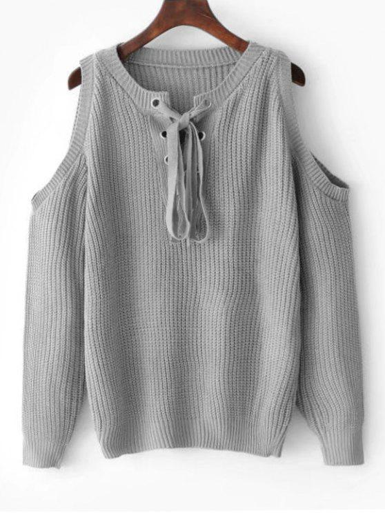 Lace Up Cold Shoulder Sweater - Gray