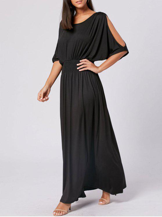 Slit manga alta cintura maxi vestido de fiesta - Negro M