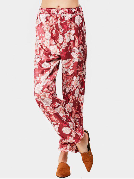 Pantalon Imprimé Floral à Taille Haute - Floral S