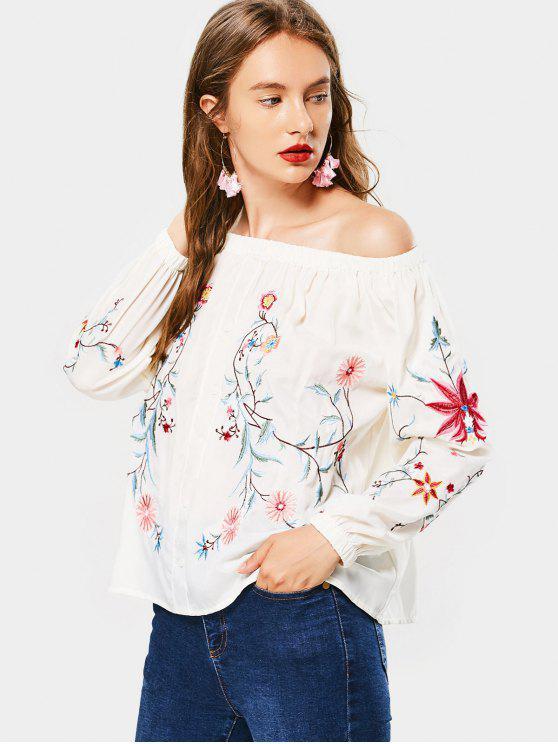 Flower Embroidered Off The Shoulder Blouse