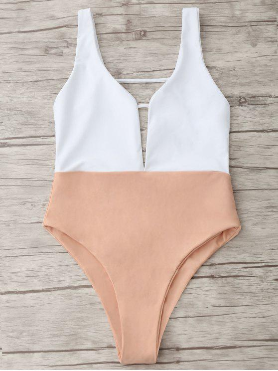 Traje de baño de dos tonos - Rosa Desnudo S