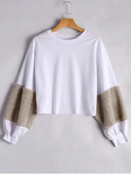 women's Puff Sleeve Faux Fur Embellished Sweatshirt - KHAKI M