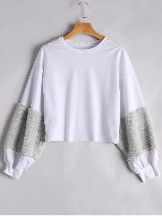 fashion Puff Sleeve Faux Fur Embellished Sweatshirt - GRAY S