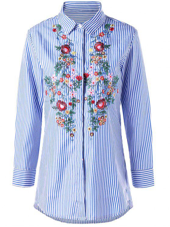 Striped Tunic Floral Embroidered Shirt - Blue Stripe Xl