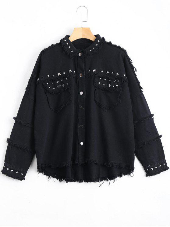 best Rivet Embellished Pockets Frayed Hem Jacket - BLACK S