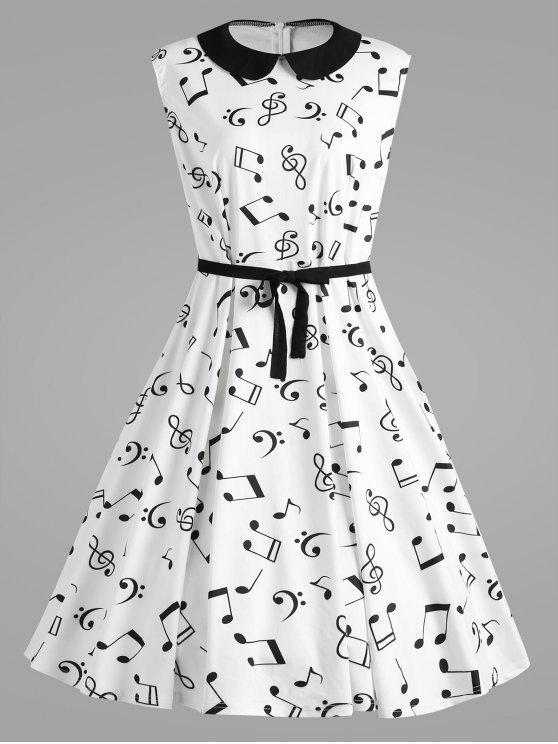 فستان كلاسيكي الحجم الكبير طباعة علامة موسيقية - أبيض 5XL
