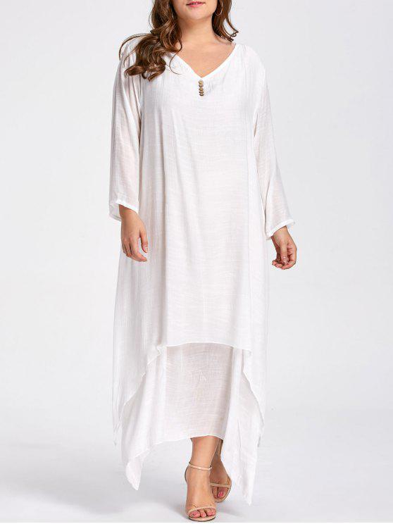 فستان ماكسي مطرز زر الحجم الكبير - أبيض XL