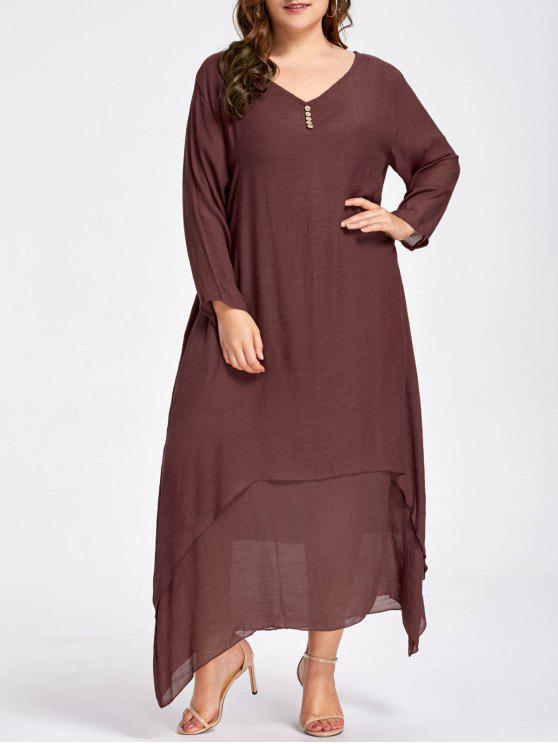 فستان ماكسي مطرز زر الحجم الكبير - التوابل XL