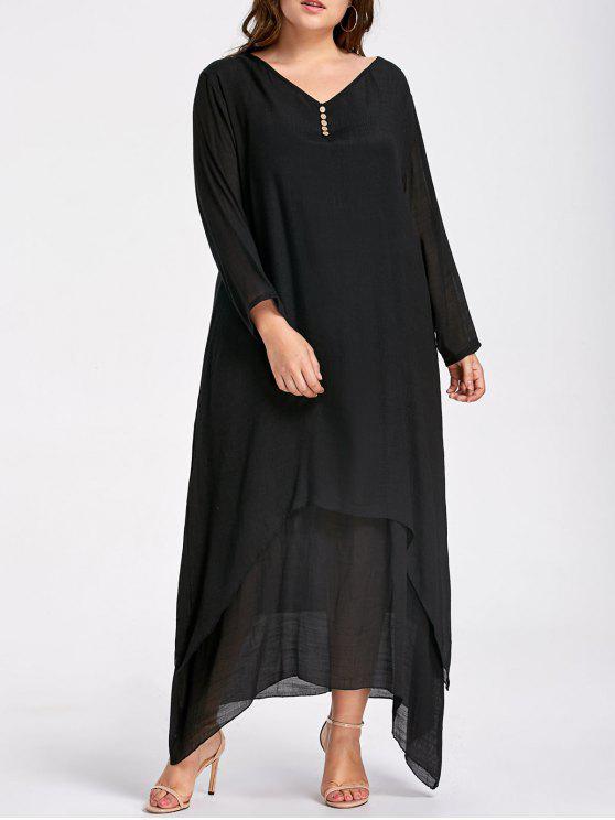 فستان ماكسي مطرز زر الحجم الكبير - أسود XL