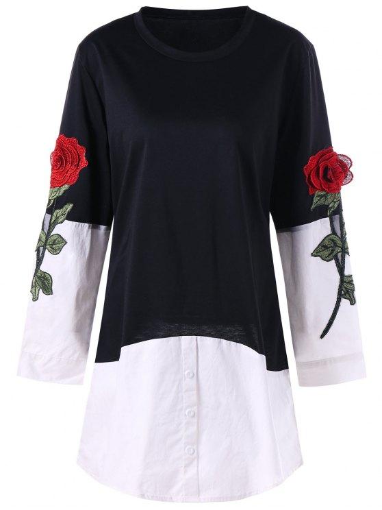 Rose Applique Contrat Hemd Hem Longline Top - Schwarz 2XL