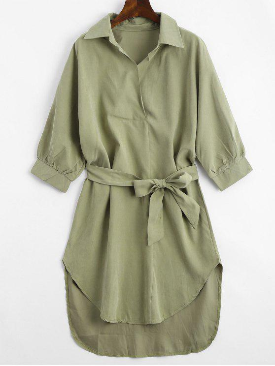57% OFF  2019 Three Quarter Sleeve Belted Shift Dress In ARMY GREEN ... 93472d134