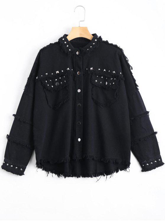 lady Rivet Embellished Pockets Frayed Hem Jacket - BLACK M