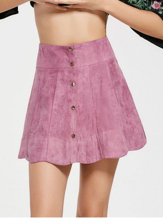 outfits Snap Button High Waist A Line Skirt - PINKISH PURPLE M