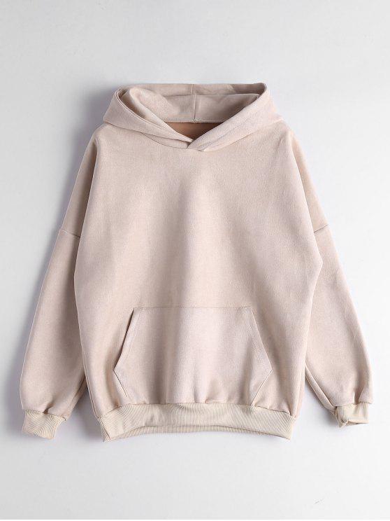 fancy Drop Shoulder Front Pocket Hoodie - APRICOT XL