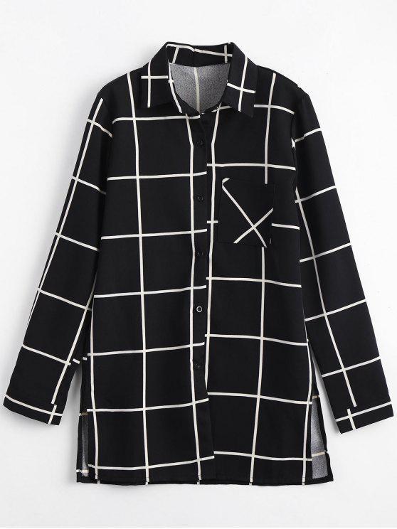 lady Long Pocket Button Up Plaid Shirt - BLACK M