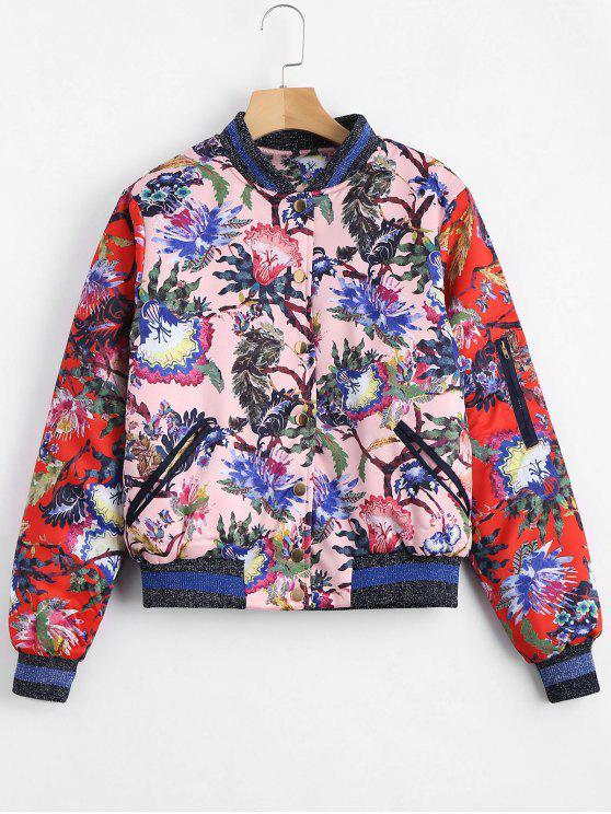 women's Floral Print Puffer Jacket - FLORAL L