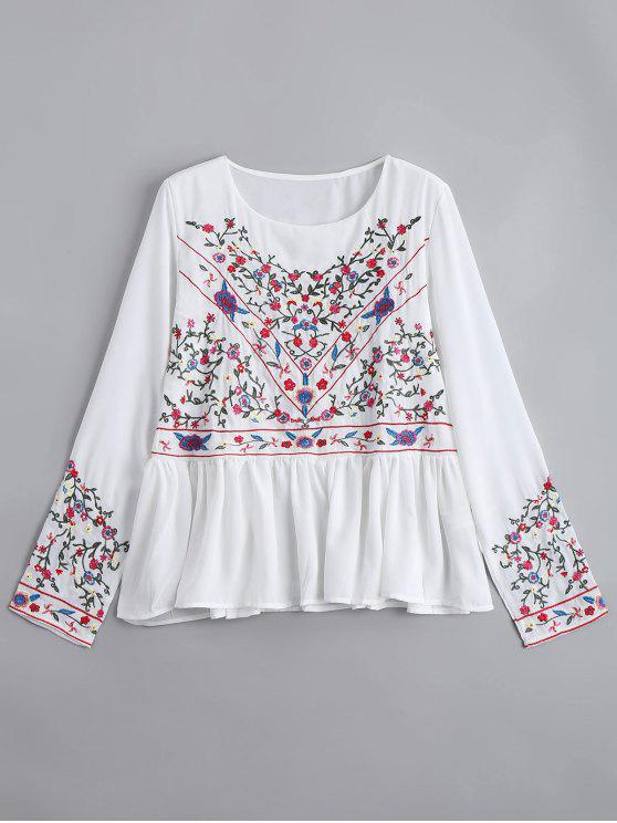 trendy Ruffles Floral Embroidered Chiffon Blouse - WHITE M