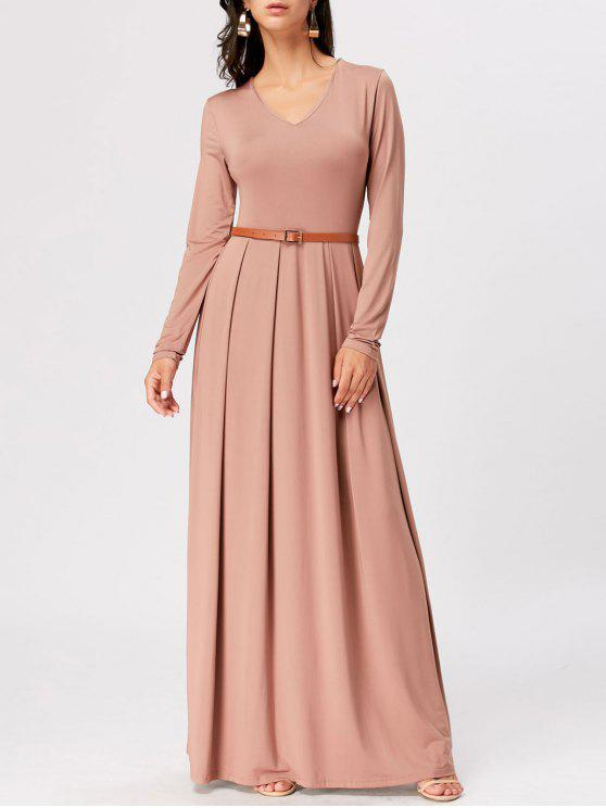 shop Long Sleeve High Waist Maxi A Line Dress - APRICOT 2XL