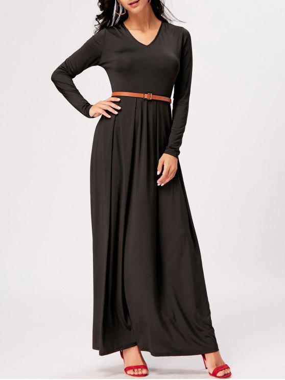 03a69b2b3 العربية ZAFUL | أسود فستان ماكسي طويلة الأكمام عالية الخصر 2019 [34 ...