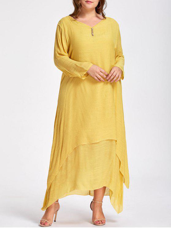 Plus Size Button Embellished Layered Maxi Dress YELLOW: Plus Size ...
