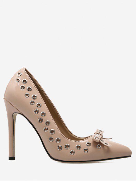 Grommet Bowknot Stiletto Heel Pumps - Abricot 39
