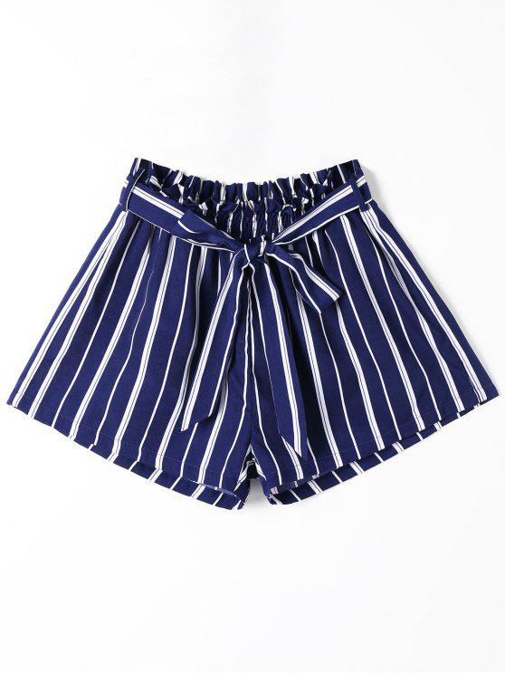 chic Striped Wide Leg Shorts with Tie Belt - BLUE STRIPE L