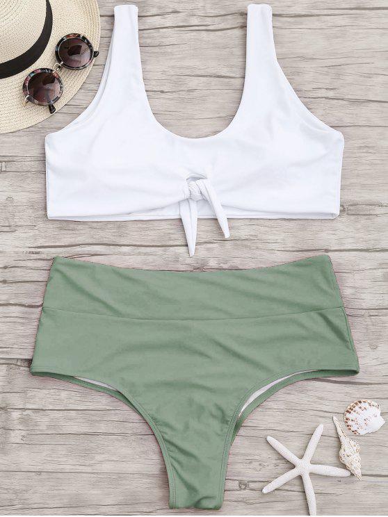 lady Plus Size Tied Two Tone Ruched Bikini - GREEN XL