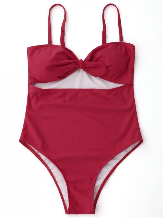 Ausgeschnittene Hohes Bein Badebekleidung mit Bowknot - Rot S