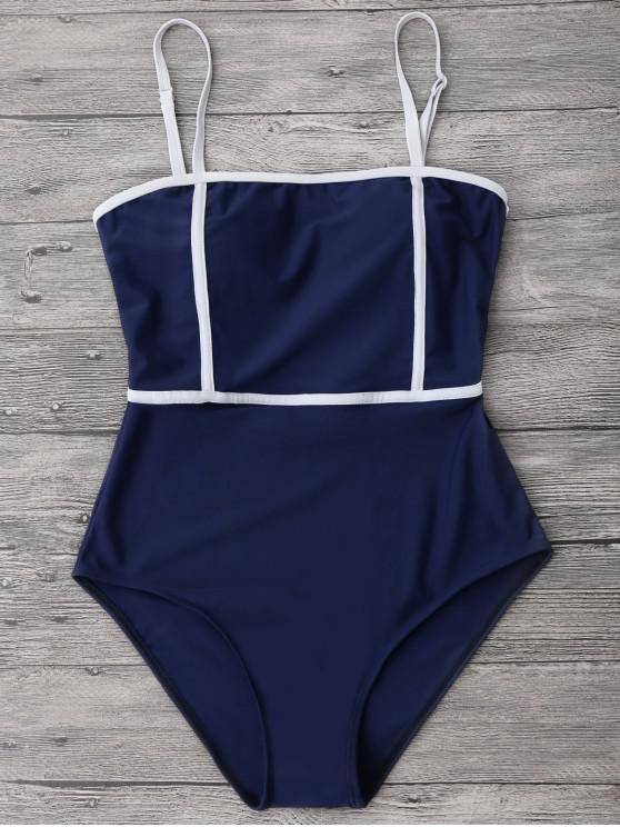 latest Cami Piping One-piece Swimwear - DEEP BLUE S