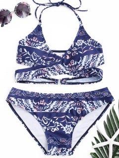 Halter Printed Wrap Bikini Set - Blue L