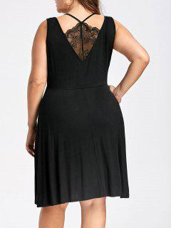 Plus Size Lace Trim Sleeveless Skater Dress - Black 4xl