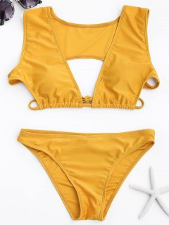 Cutout Plunging Bikini Set - Yellow M