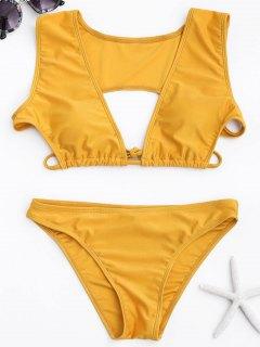 Ausschnitt Bikini Set - Gelb S