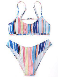 Gepolsterte Gestreifte Cami Bikini Set - Streifen  M