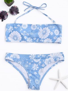Padded Floral Halter Bikini Set - Light Blue S