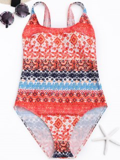 Printed One Piece Bathing Suit - M