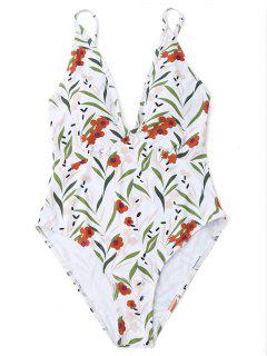 High Cut Leaf Print One Piece Swimwear - White L