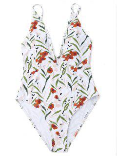 High Cut Leaf Print One Piece Swimwear - Blanc M