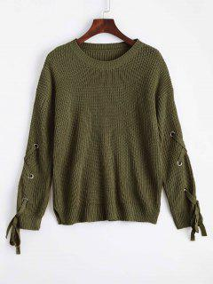 Loose Lace Up Side Slit Sweater - Army Green