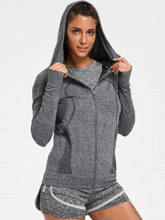 Sporty Perspire Heathered T-shirt With Short With Hoodie - Gray M