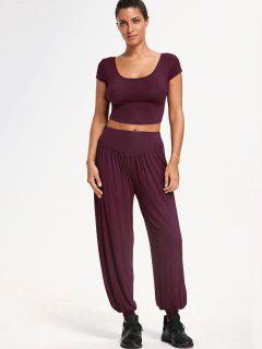 Cropped Top With Bloomer Pants Gym Suit - Purplish Red 2xl