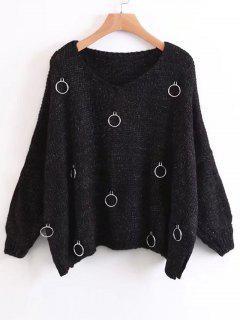 Anillos Metálicos De Gran Tamaño Side Slit Sweater - Negro